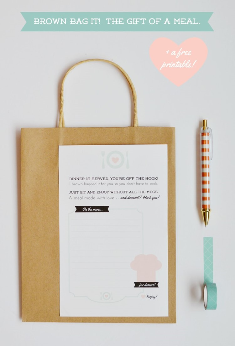 free printable tag for meal gifting