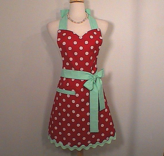 mint-red apron