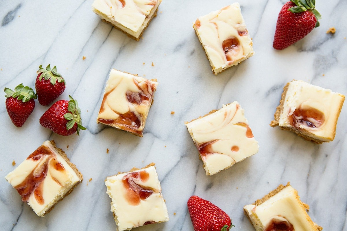 Strawberry Swirl Cheesecake Bar #recipe via MomAdvice.com