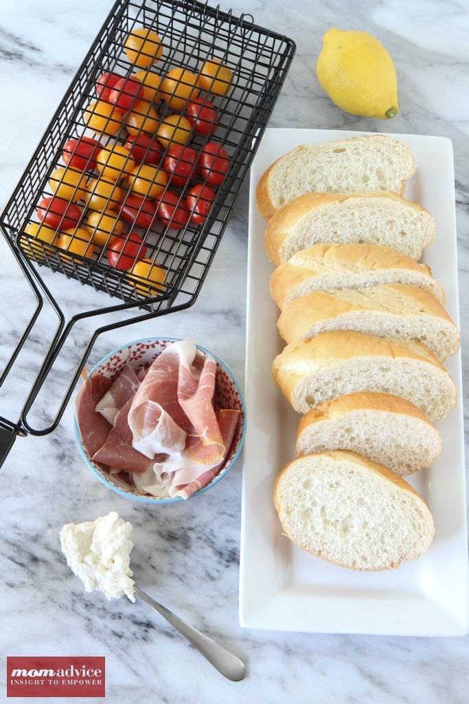 Grilled Tomato Bread with Prosciutto