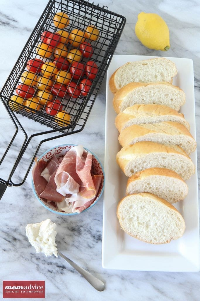 Grilled Tomato Bread with Prosciutto