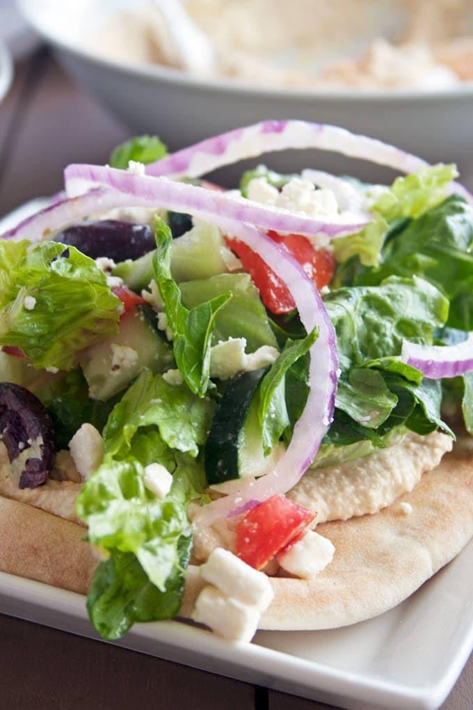 Meditertanean Flatbread Salad via A Happy Food Dance