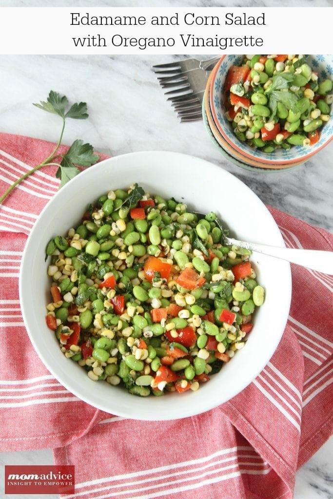 Edamame and Corn Salad with Oregano Vinaigrette