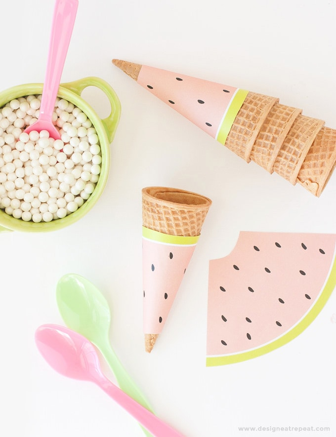 Free-Printable-Watermelon-Icecream-Cone-Wrappers via Design Eat Repeat