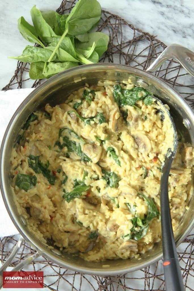 Creamy Spinach & Mushroom Risotto