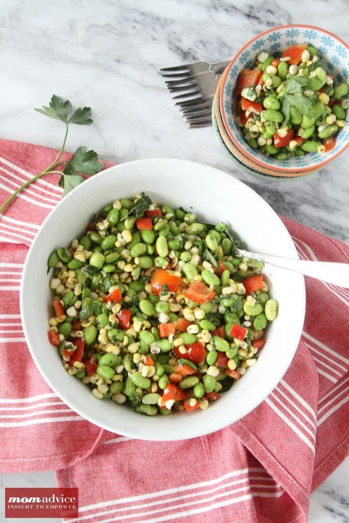 Edamame and Corn Salad with Oregano Vinaigrette