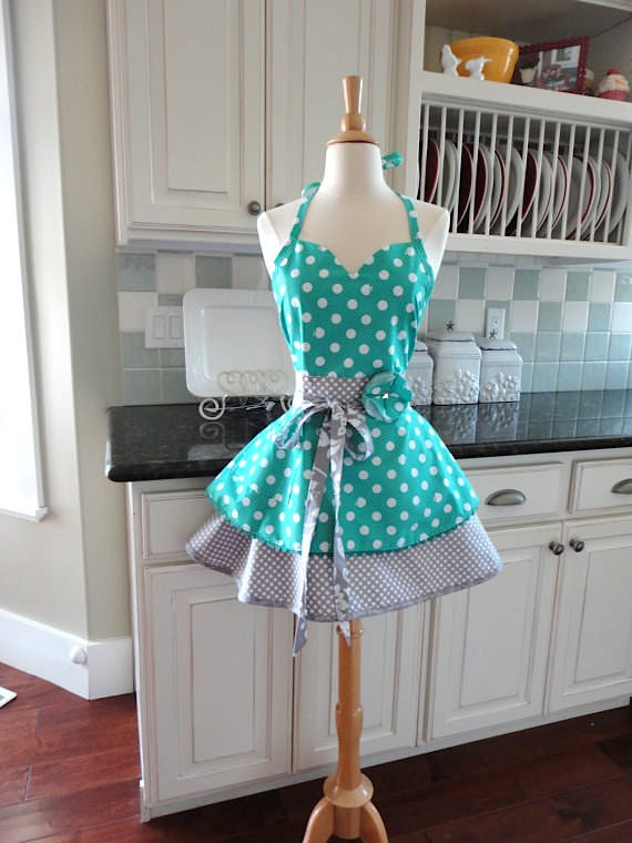 Blue polka dot apron via etsy