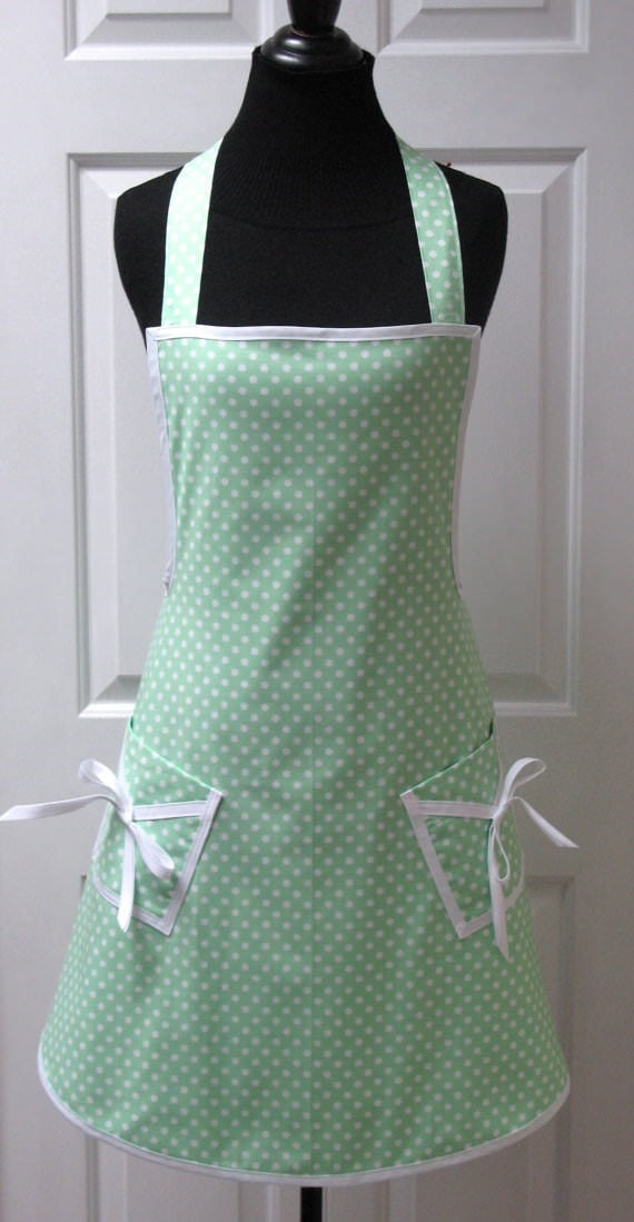 green polka dot apron
