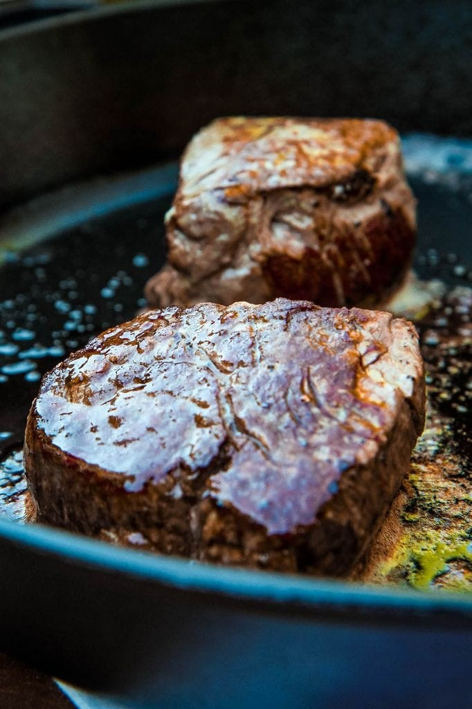 Cooked Filet in Cast Iron Skillet