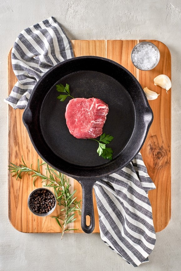 Raw Steak in Skillet
