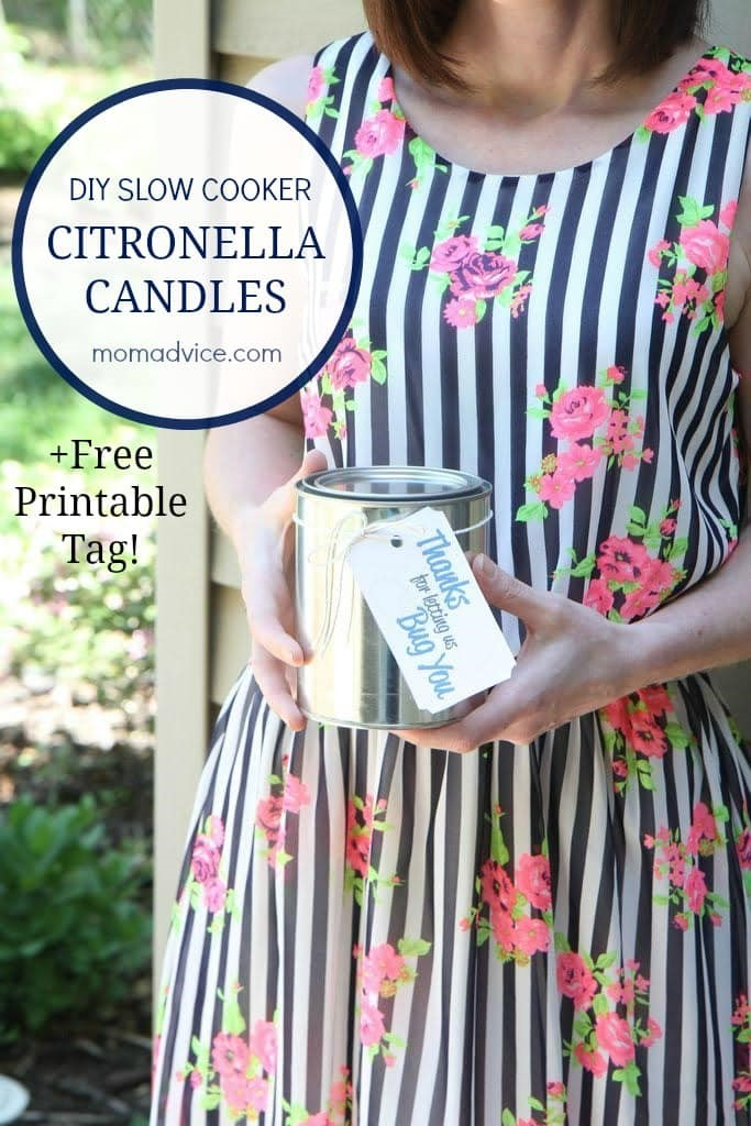 DIY Slow Cooker Citronella Candles with Printable Tag