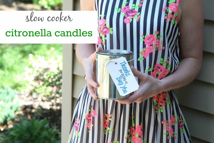DIY slow Cooker Citronella Candles
