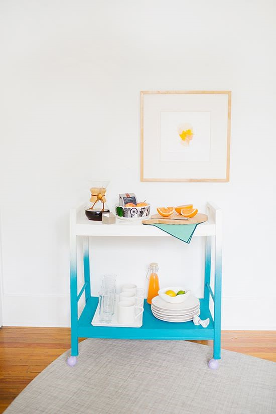 Ombre bar cart via Paper N Stitch Blog