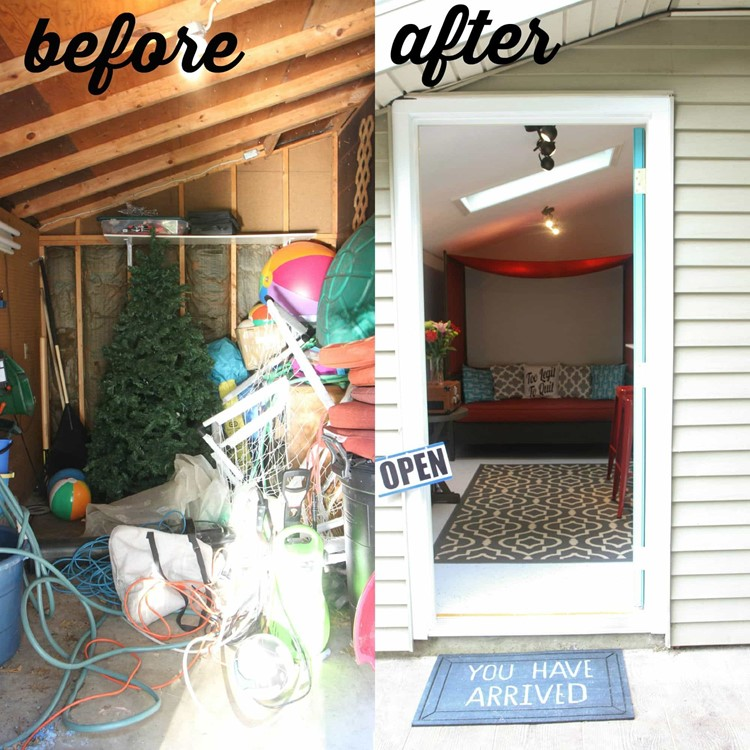 garage storage ideas for pool summer - How to Makeover a Shed Into a Bonus Room Tour Our Shed
