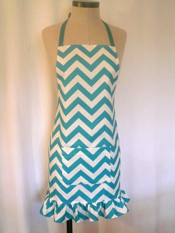 Blue chevron apron via Etsy