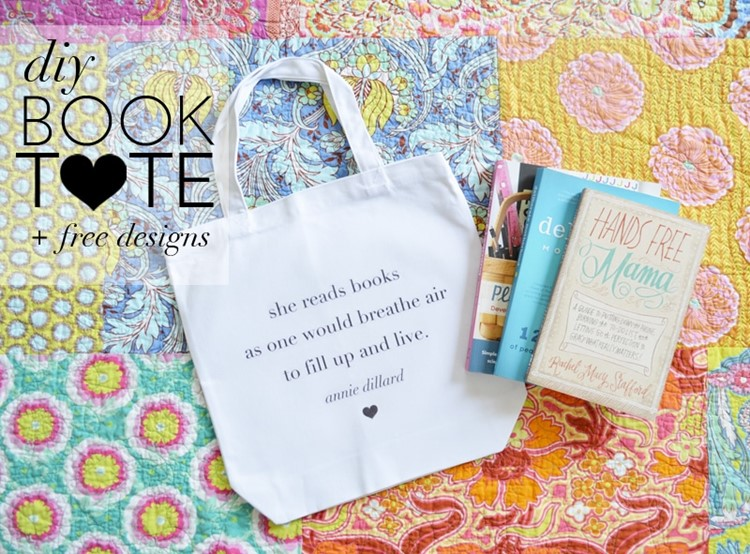 DIY Book Tote with free printable designs from MomAdvice.com