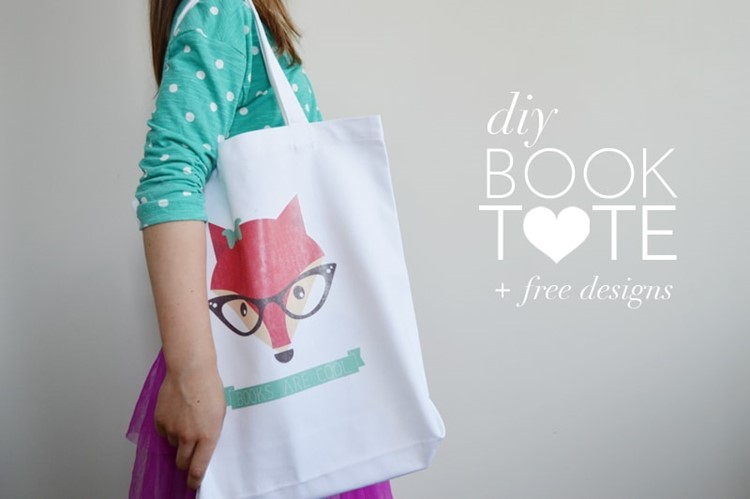 DIY Book Tote with free printable designs