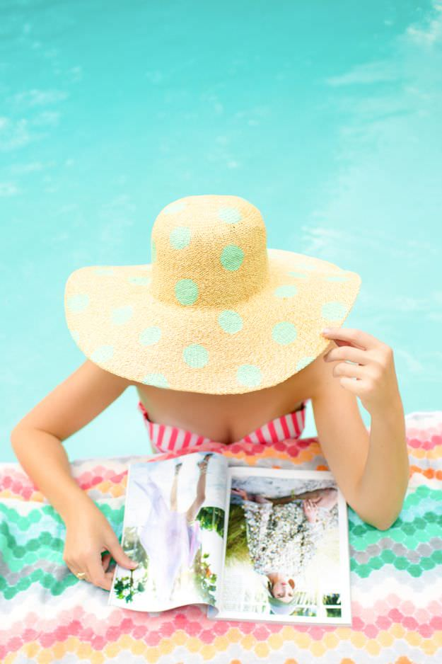 Polka dot hat via Sugar and Cloth