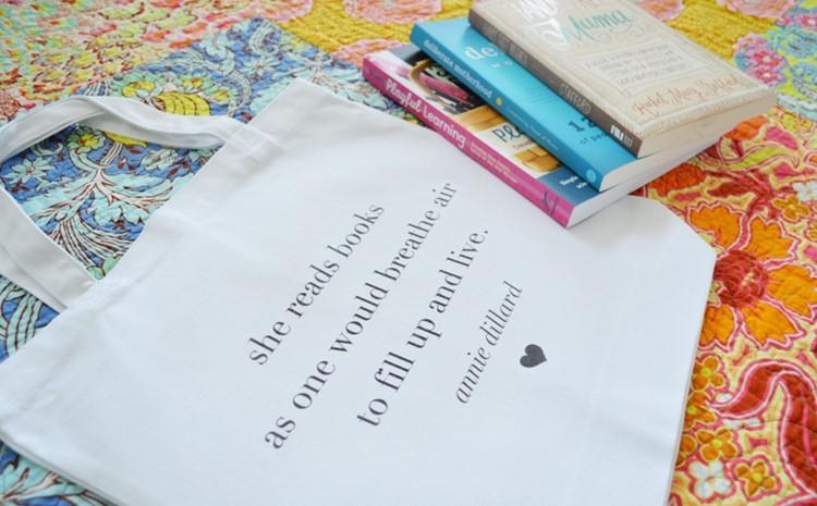 DIY Book Tote with free printable designs