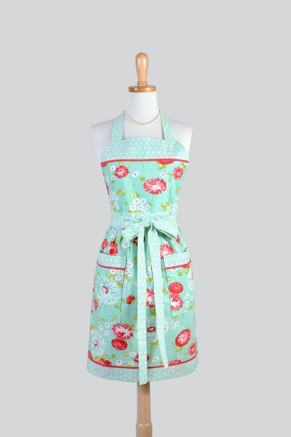 Mint flowered apron via Etsy