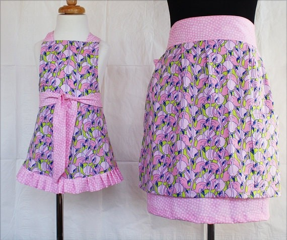 Mommy and Me Pink Flamingo Aprons via Etsy