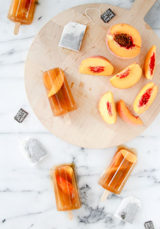 Peach Iced Tea Popsicles via Paper N Stitch