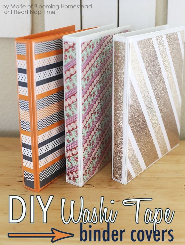 Washi Tape Binders-Blooming Homestead via I Heart Nap TIme