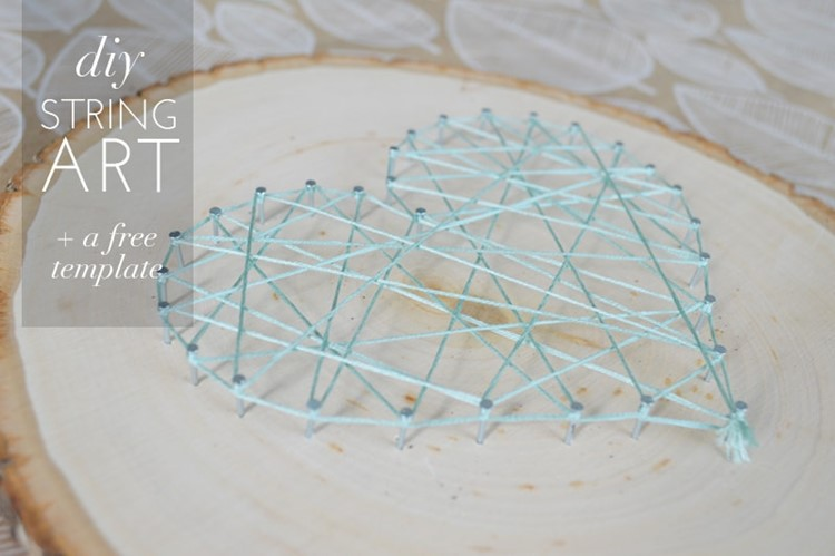 Diy heart string art on wood with a free template momadvice for Diy nail and string art