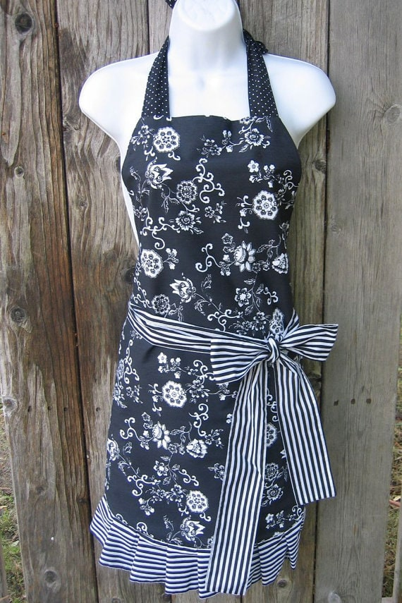 Black floral apron via Etsy