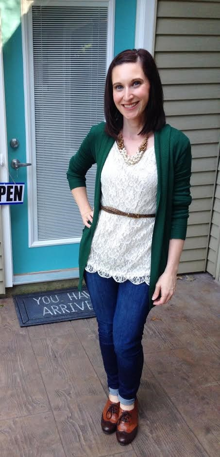 green cardiagn + lace shirt + leopard print belt + rolled skinny jeans + oxfords