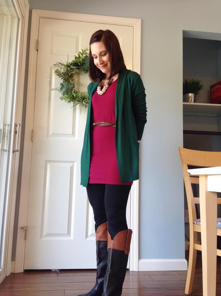 burgundy tank + green cardigan + leggings + statement necklace + two toned boots