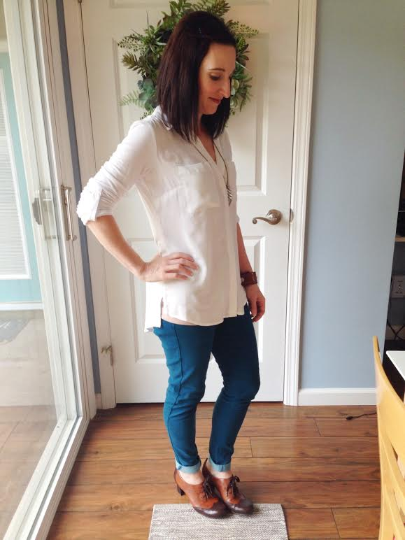 white collared shirt + rolled teal jeans + oxford shoes