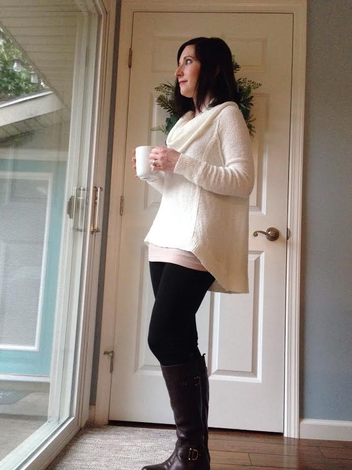 cozy sweater + long tank + black leggings + brown boots