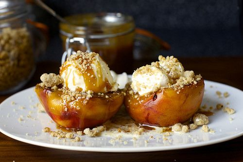 Peach splits via Smitten Kitchen