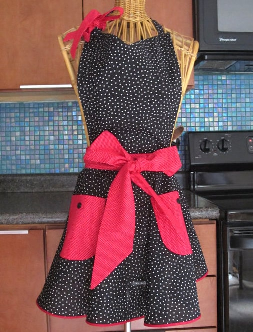 Black-Pink Polka Dot Apron via Etsy