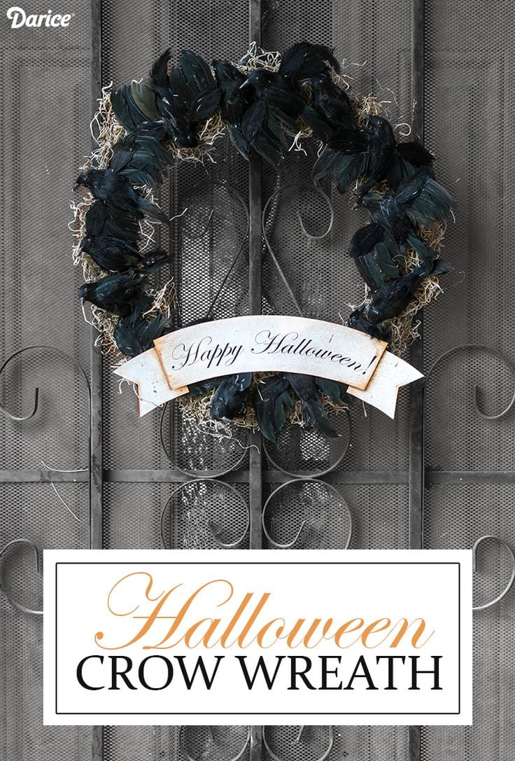 DIY Crow Halloween Wreath via Darice Blog