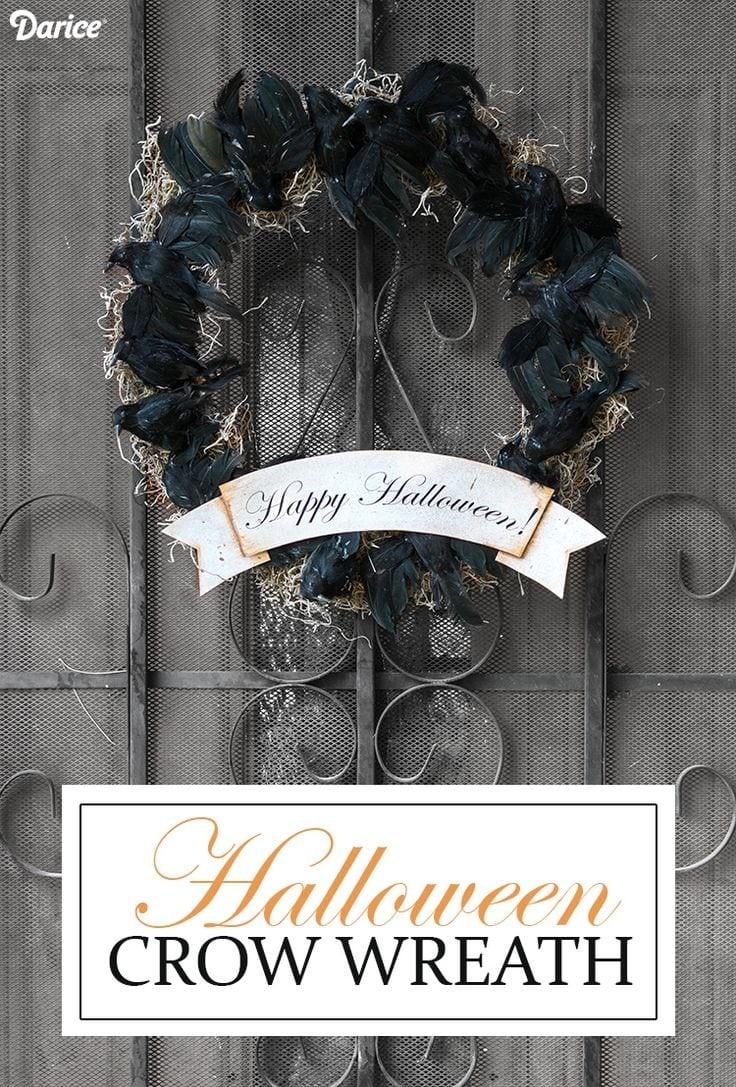DIY Crow Halloween Wreath via Darice Blog