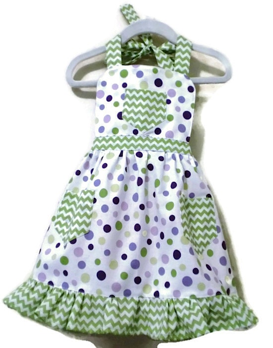 Green Chevron-Polka Dot Kid's Apron via Etsy