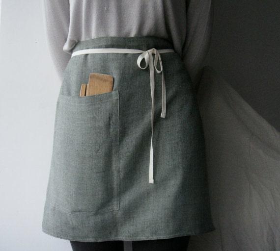 Linen half apron via Etsy