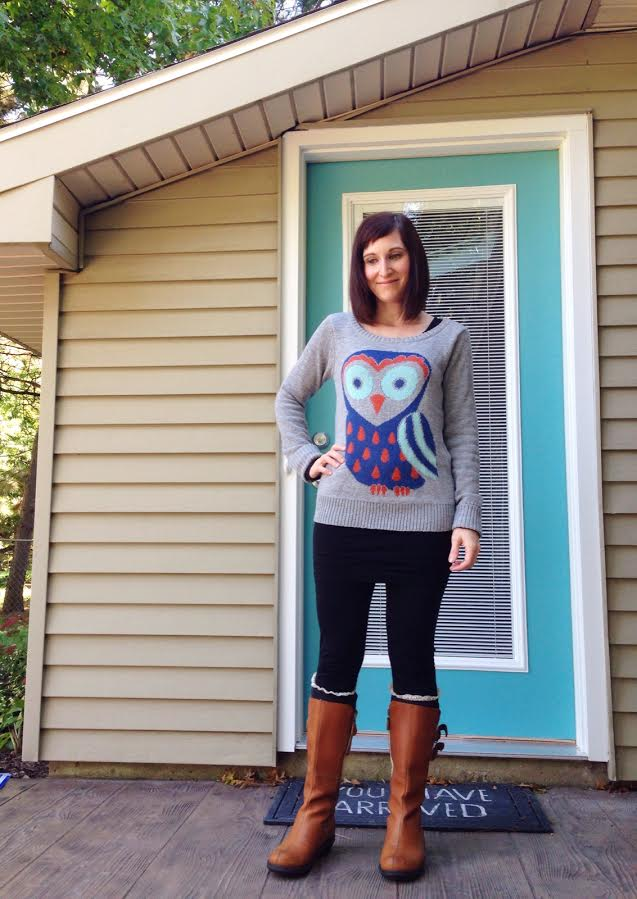 owl sweater + tunic + leggings + boot socks + camel boots