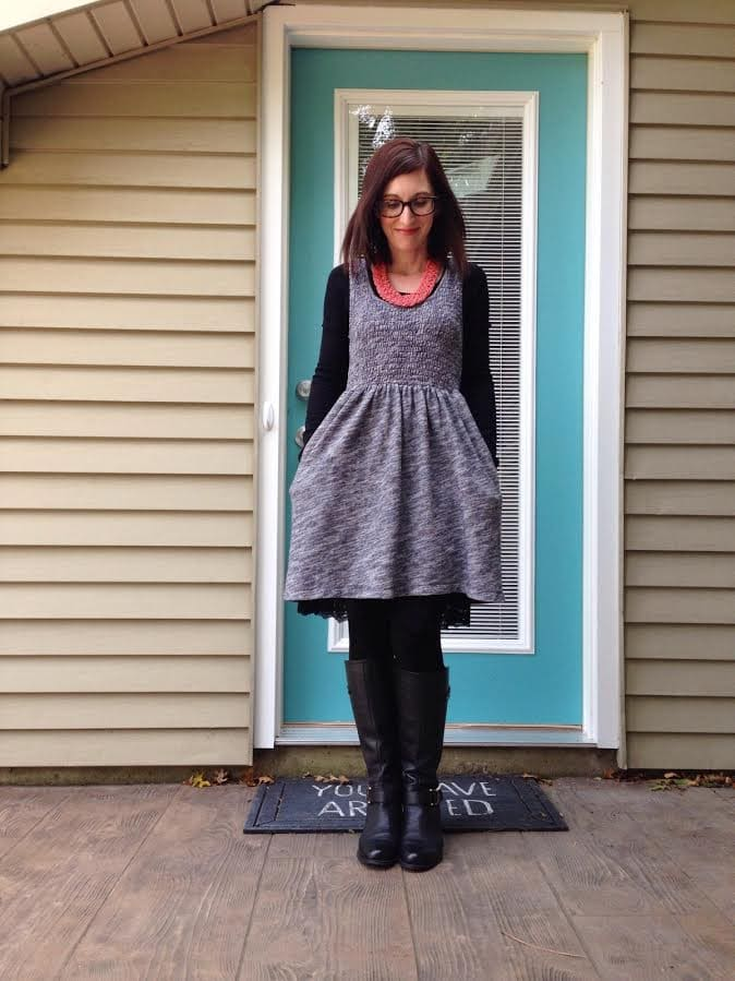 sweater dress + petticoat slip + tights + boots + statement necklace