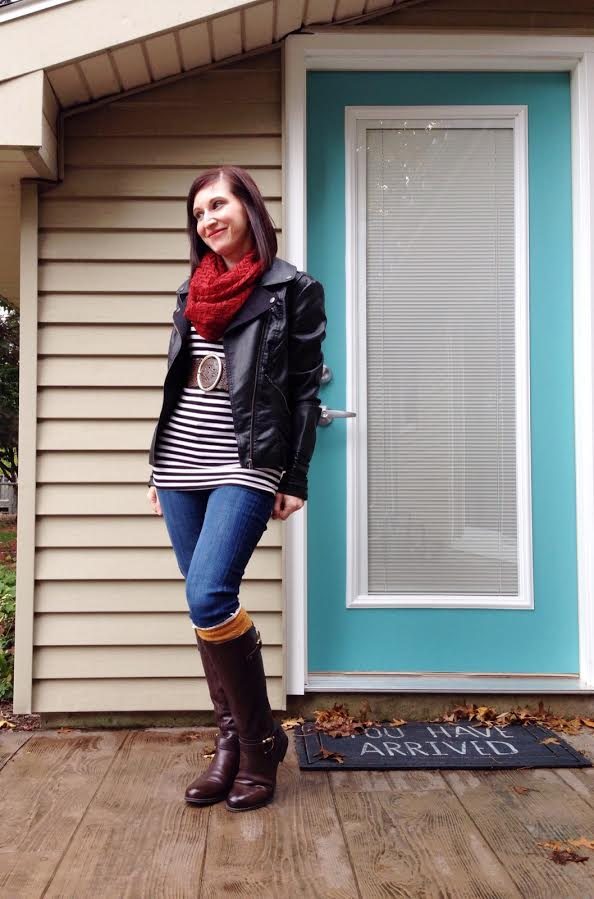 stripes + moto jacket + scarf + boot socks + brown boots