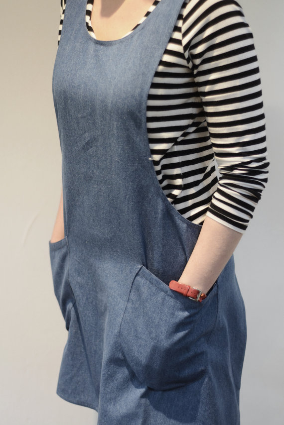 Cross-Back Denim Apron via Etsy
