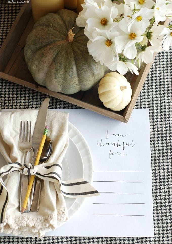 Thankful Printable Placemat via Ella Claire