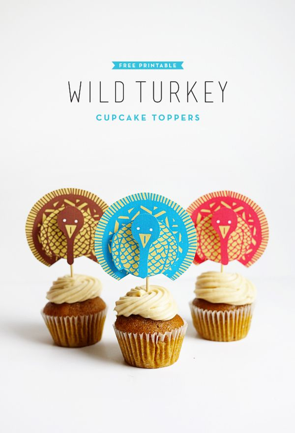 Turkey Cupcake Toppers via Oh Happy Day