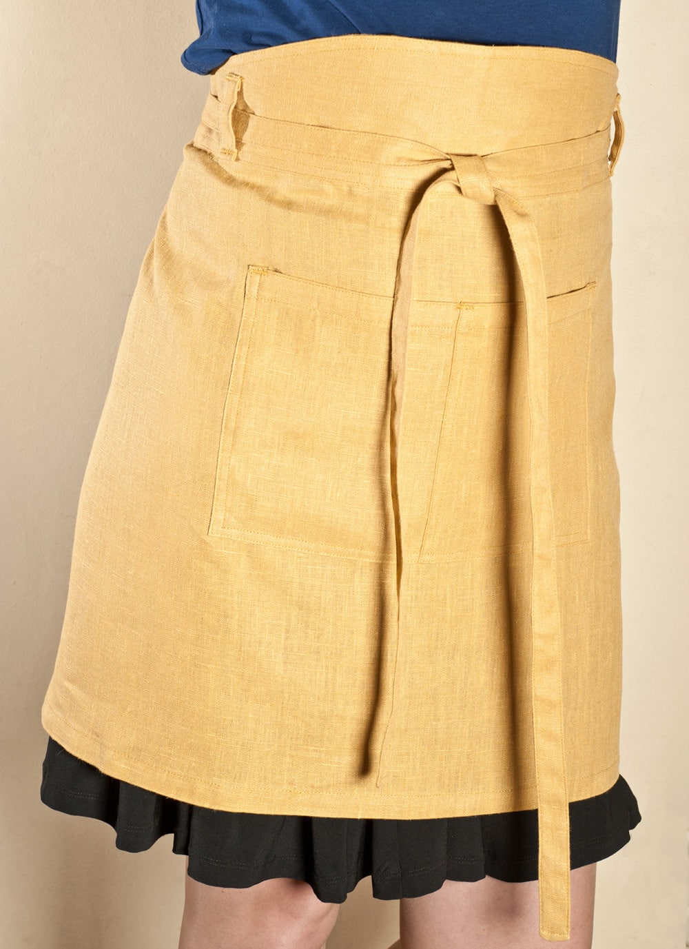 Yellow Linen Half Apron via Etsy