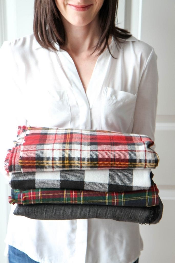 how to make a blanket scarf from - Flannel Blanket