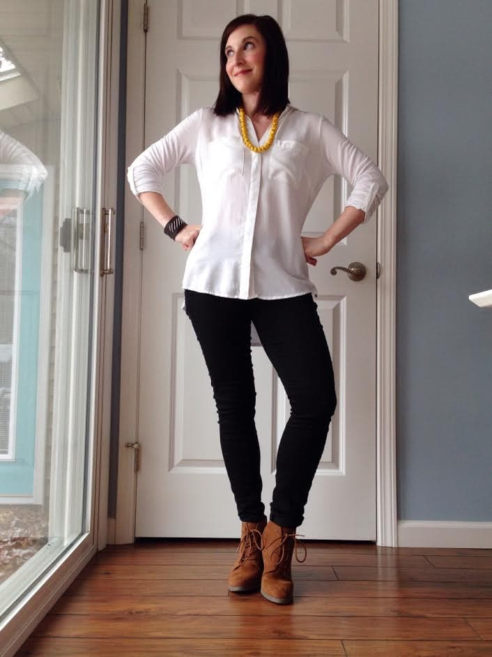 white shirt + rolled black jeans + camel booties + statement necklace
