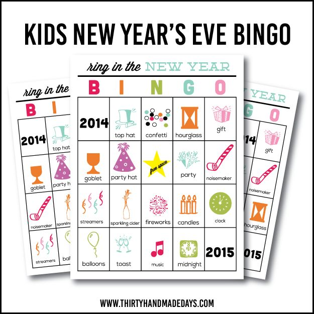 Kids NYE Bingo via Thirty Handmade Days