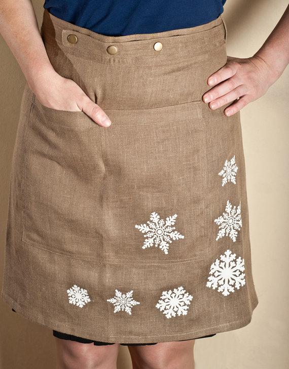 Linen Snowflake Apron via Etsy